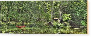 Wood Print featuring the photograph Red Canoe Panorama by David Patterson