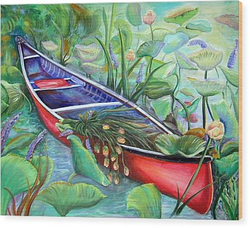 Wood Print featuring the painting Red Canoe by Patricia Piffath