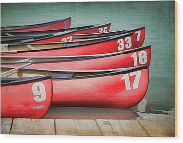 Red Canoes At Lake Louise Wood Print by Debby Herold