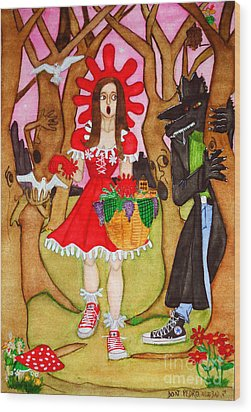 Wood Print featuring the painting The Little Riding Hood And The Wolf In Chucks by Don Pedro De Gracia