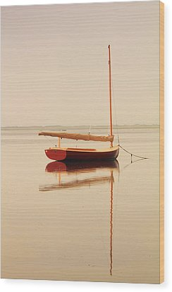 Red Catboat On Misty Harbor Wood Print