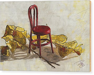 Red Chair And Yellow Leaves Wood Print by Debra Baldwin