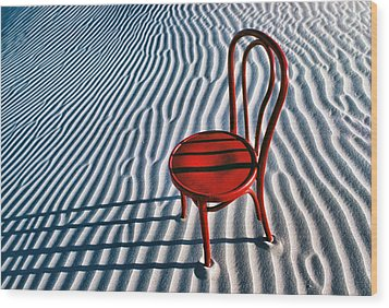 Red Chair In Sand Wood Print by Garry Gay