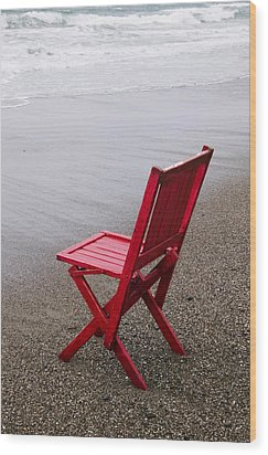 Red Chair On The Beach Wood Print by Garry Gay