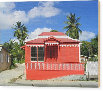 Red Chattel House Wood Print by Barbara Marcus