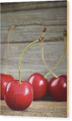 Red Cherries On Barn Wood Wood Print by Sandra Cunningham