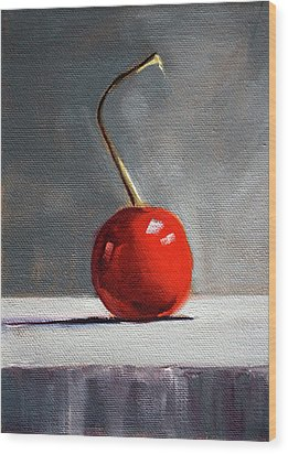Wood Print featuring the painting Red Cherry by Nancy Merkle