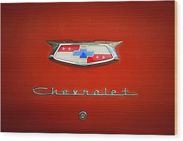 Wood Print featuring the photograph Red Chevy Bel-air Trunk by Marilyn Hunt