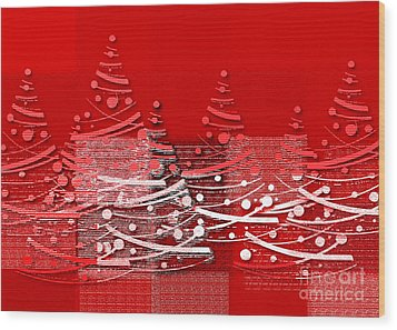 Red Christmas Trees Wood Print by Aimelle