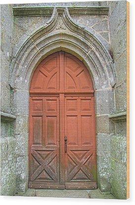Red Church Door IIi Wood Print by Helen Northcott