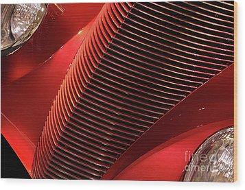 Red Classic Car Details Wood Print by Oleksiy Maksymenko
