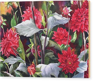 Wood Print featuring the painting Red Dahlias by Alfred Ng
