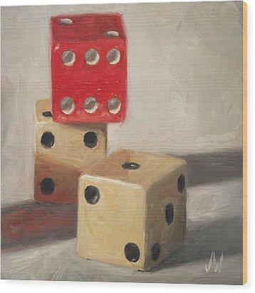 Red Die Wood Print by Joe Winkler