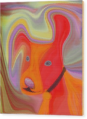 Red Dog Wood Print by Ruth Palmer