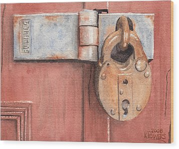 Red Door And Old Lock Wood Print by Ken Powers