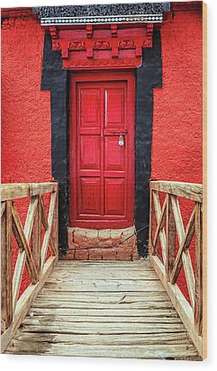 Wood Print featuring the photograph Red Door At A Monastery by Alexey Stiop