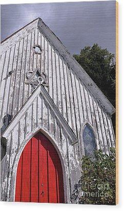 Red Door Wood Print by Gina Savage