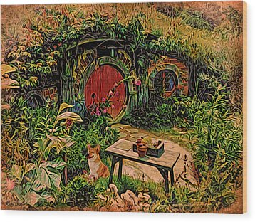 Red Door Hobbit House With Corgi Wood Print