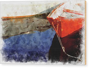Red Dory Wood Print by Peter J Sucy