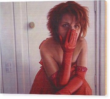 Red Dress Wood Print by James W Johnson
