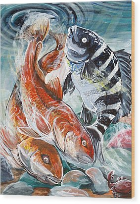 Wood Print featuring the painting Red Drums And A Sheephead by Jenn Cunningham