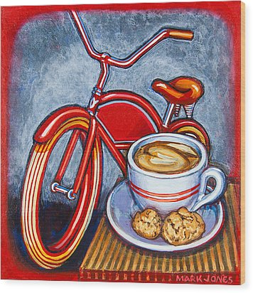 Red Electra Delivery Bicycle Cappuccino And Amaretti Wood Print by Mark Jones