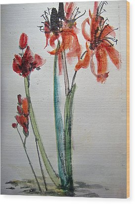 Wood Print featuring the painting Red Energy by Debbi Saccomanno Chan