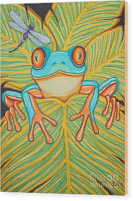 Red Eyed Tree Frog And Dragonfly Wood Print by Nick Gustafson