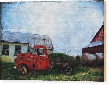 Red Farm Truck Wood Print by Bill Cannon