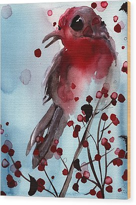 Red Finch In The Winterberry Wood Print
