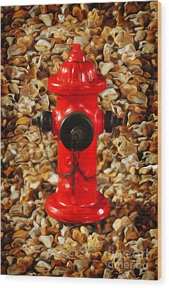 Wood Print featuring the photograph Red Fire Hydrant by Andee Design