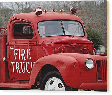 Red Fire Truck Wood Print by Michael Thomas