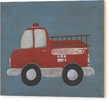 Red Fire Truck Nursery Art Wood Print by Katie Carlsruh