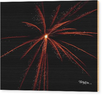 Wood Print featuring the photograph Red Fireworks #0699 by Barbara Tristan