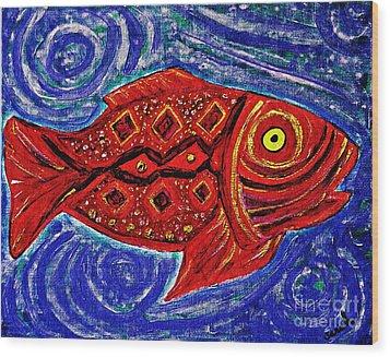 Red Fish Wood Print by Sarah Loft