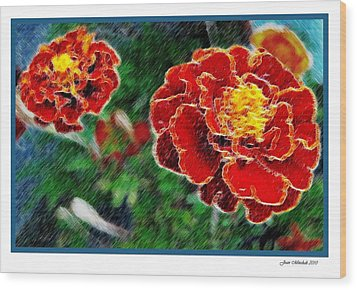 Wood Print featuring the photograph Red Flower In Autumn by Joan  Minchak