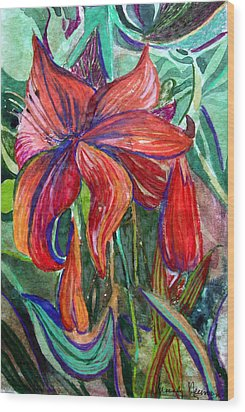 Red Flower Wood Print by Mindy Newman