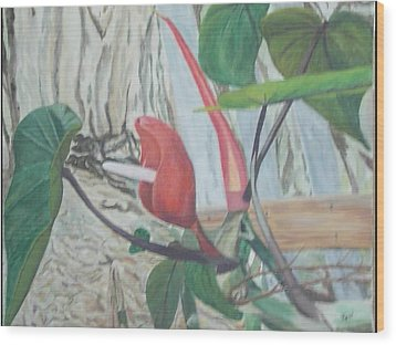 Red Flowering Vine Wood Print by Hilda and Jose Garrancho