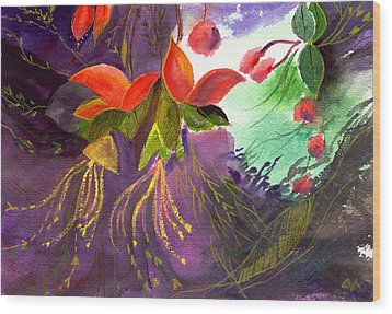 Red Flowers Wood Print by Anil Nene