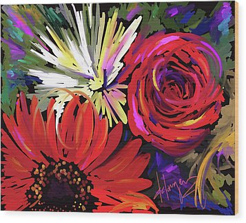 Wood Print featuring the painting Red Flowers by DC Langer