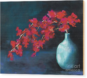 Red Flowers Wood Print by Frances Marino