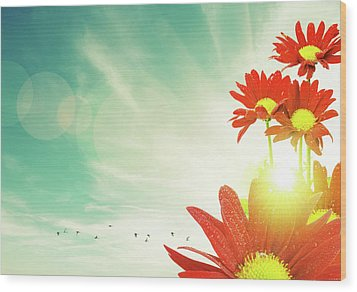 Wood Print featuring the photograph Red Flowers Spring by Carlos Caetano