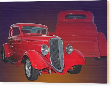 Red Ford Wood Print by Jim  Hatch