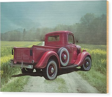Wood Print featuring the photograph Red Ford Pick-up by Robin-Lee Vieira