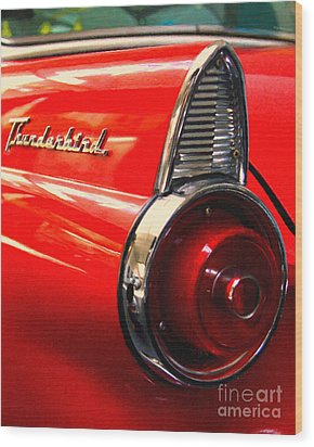 Red Ford Thunderbird . Automotive Art Series Wood Print by Wingsdomain Art and Photography