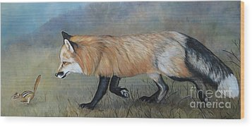 Red Fox Encounter Wood Print by Charlotte Yealey