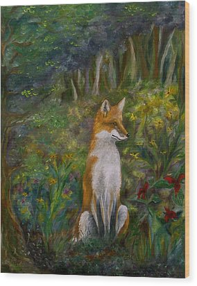 Red Fox Wood Print by FT McKinstry