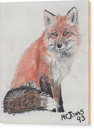 Red Fox In Snow Wood Print by Marqueta Graham