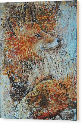 Red Fox Wood Print by Jean Cormier