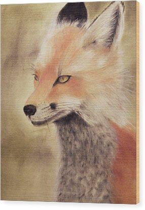Red Fox Wood Print by Joanne Giesbrecht